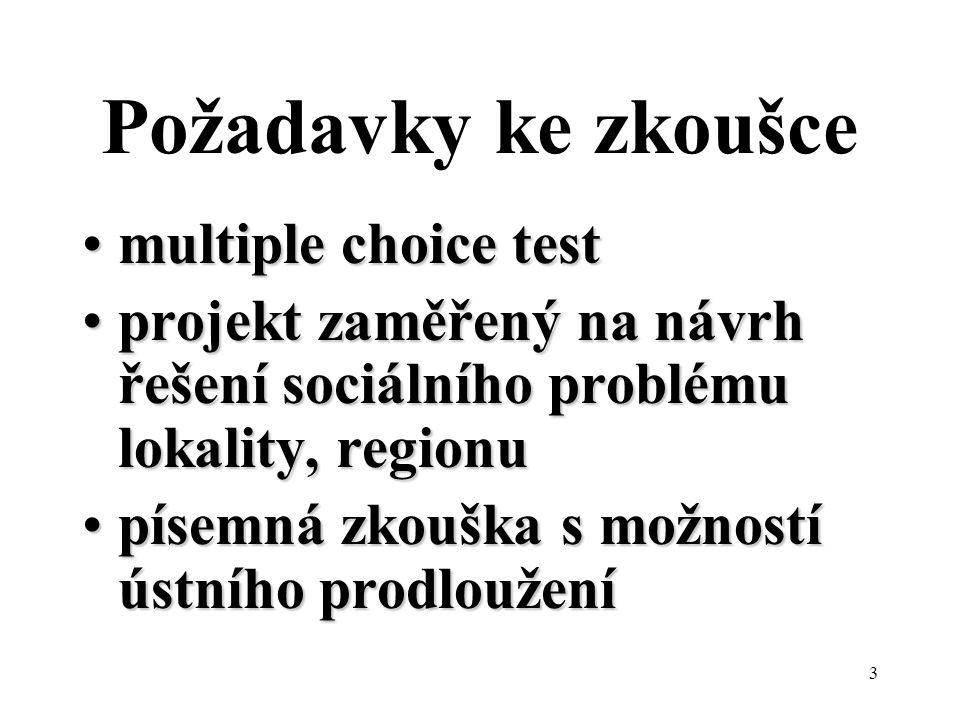 Požadavky ke zkoušce multiple choice test