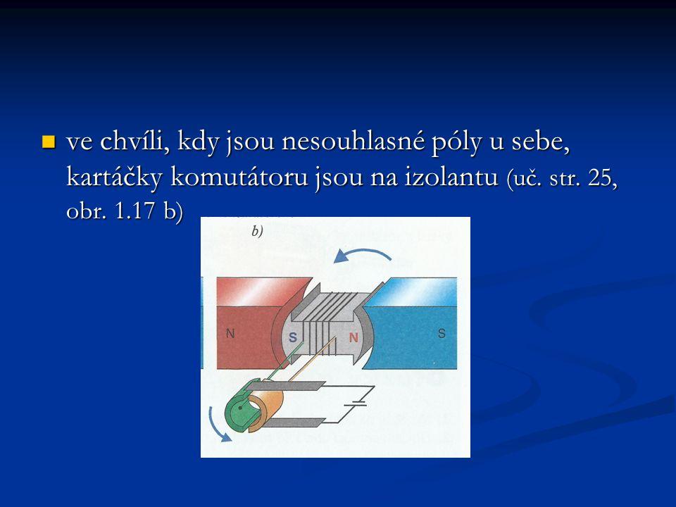 ve chvíli, kdy jsou nesouhlasné póly u sebe, kartáčky komutátoru jsou na izolantu (uč.