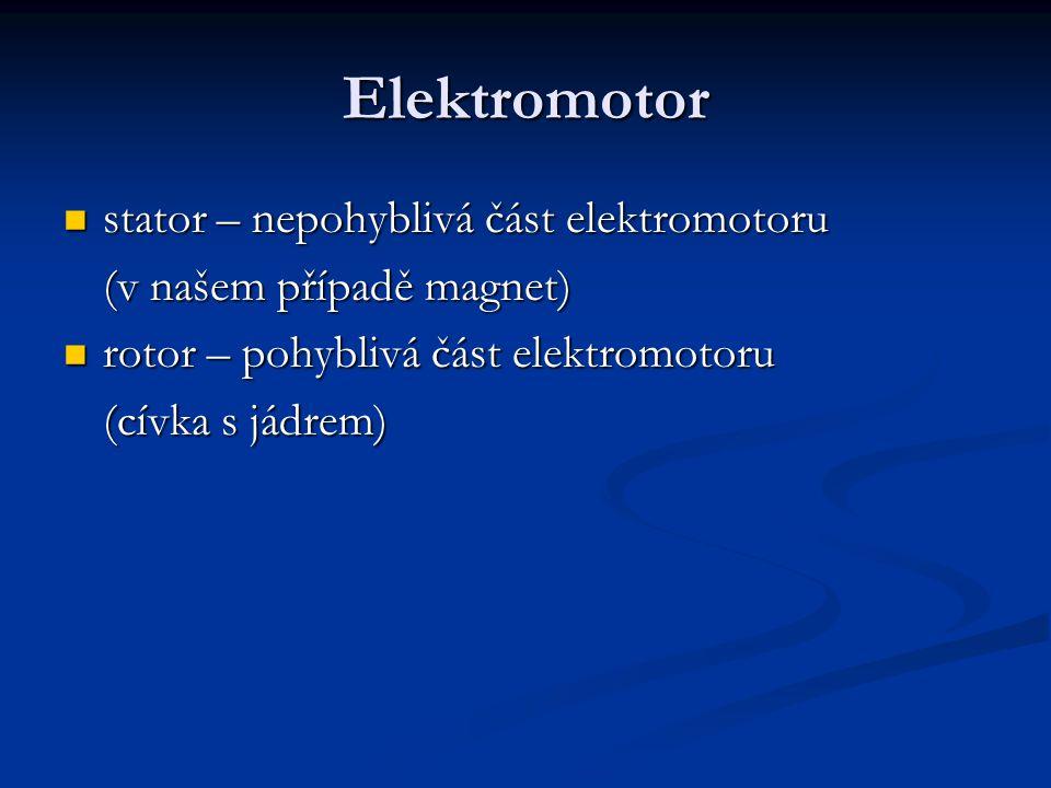 Elektromotor stator – nepohyblivá část elektromotoru