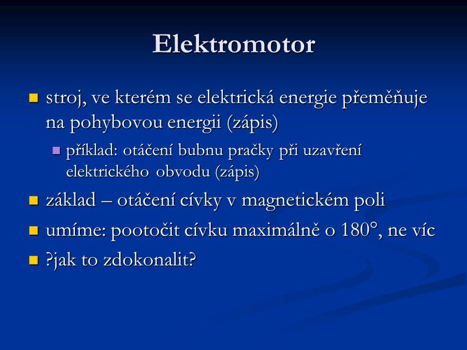 Elektromotor stroj, ve kterém se elektrická energie přeměňuje na pohybovou energii (zápis)