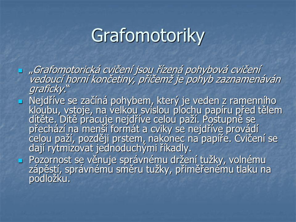 """Grafomotoriky """"Grafomotorická cvičení jsou řízená pohybová cvičení vedoucí horní končetiny, přičemž je pohyb zaznamenáván graficky."""