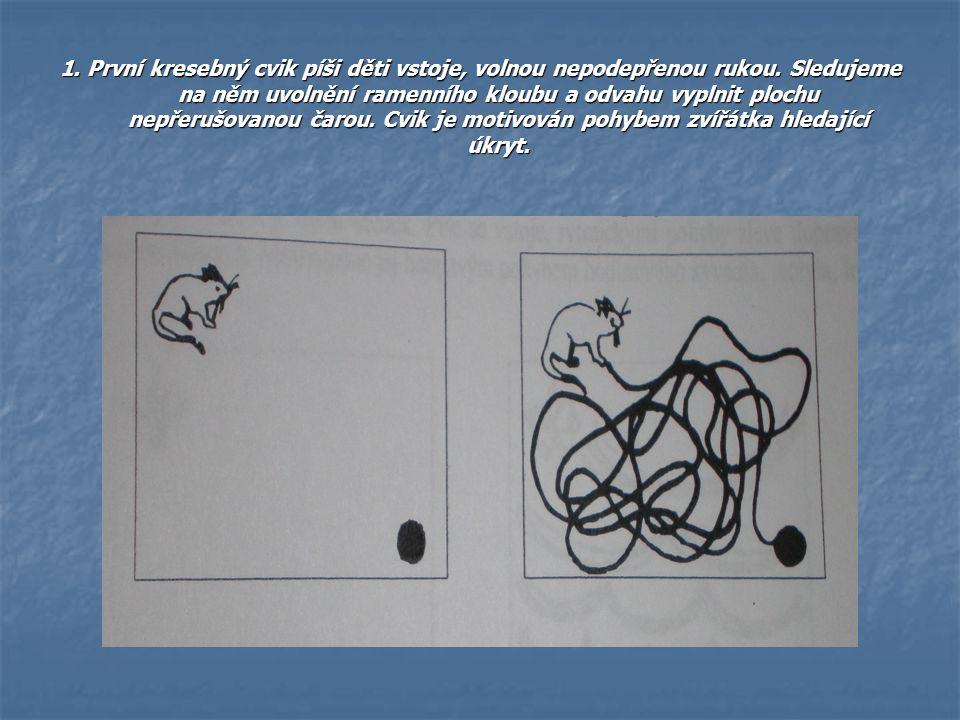 1. První kresebný cvik píši děti vstoje, volnou nepodepřenou rukou
