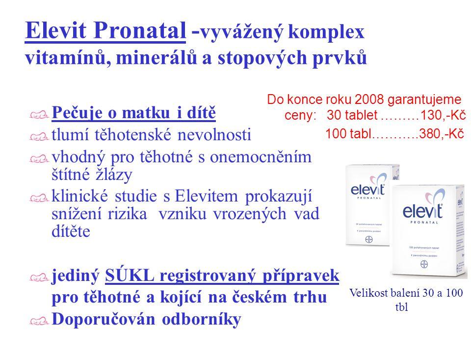 Elevit Pronatal -vyvážený komplex vitamínů, minerálů a stopových prvků