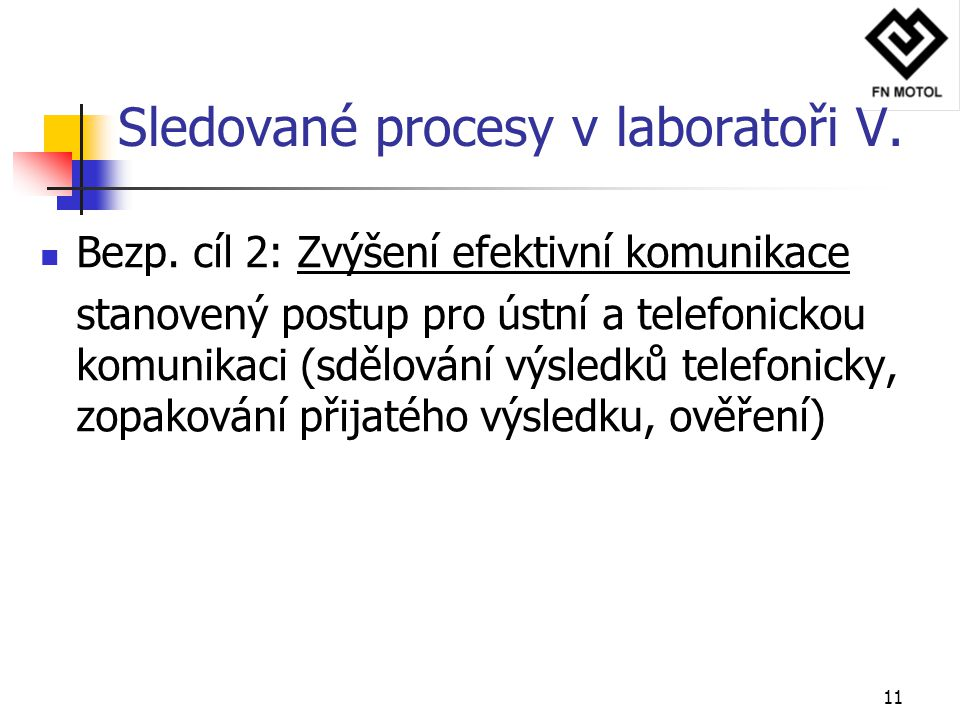 Sledované procesy v laboratoři V.