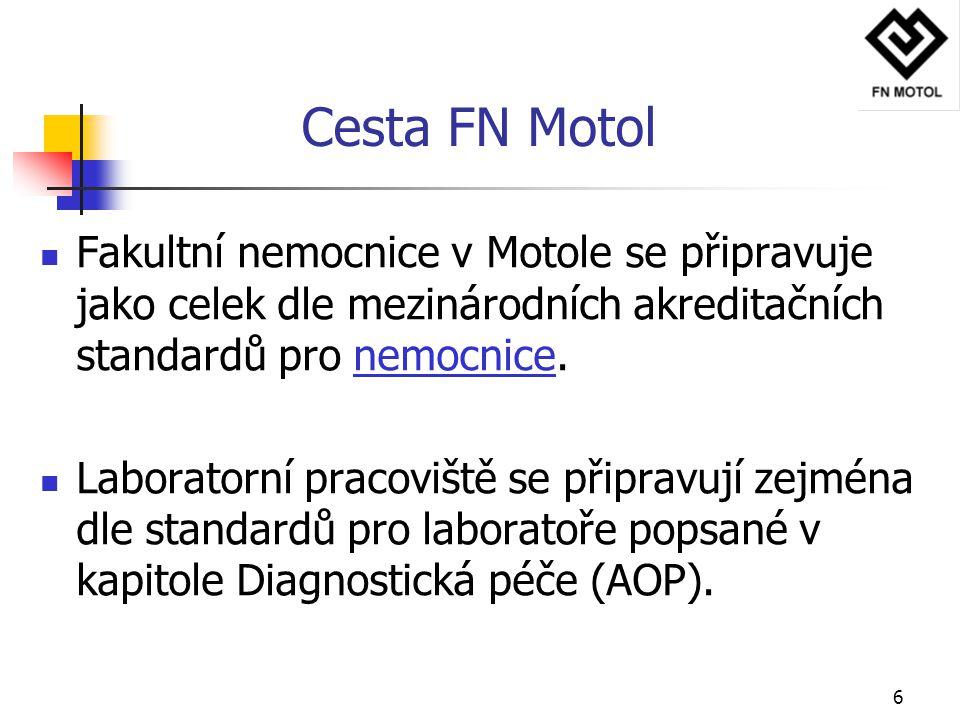 Cesta FN Motol Fakultní nemocnice v Motole se připravuje jako celek dle mezinárodních akreditačních standardů pro nemocnice.