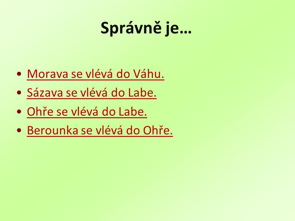 Správně je… Morava se vlévá do Váhu. Sázava se vlévá do Labe.