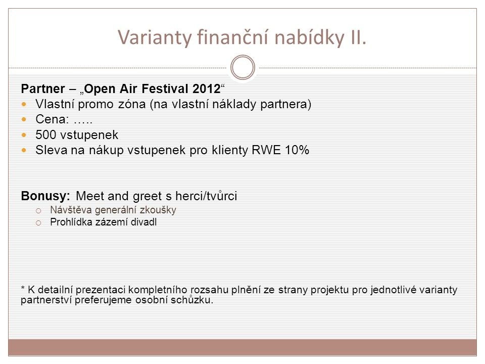 Varianty finanční nabídky II.