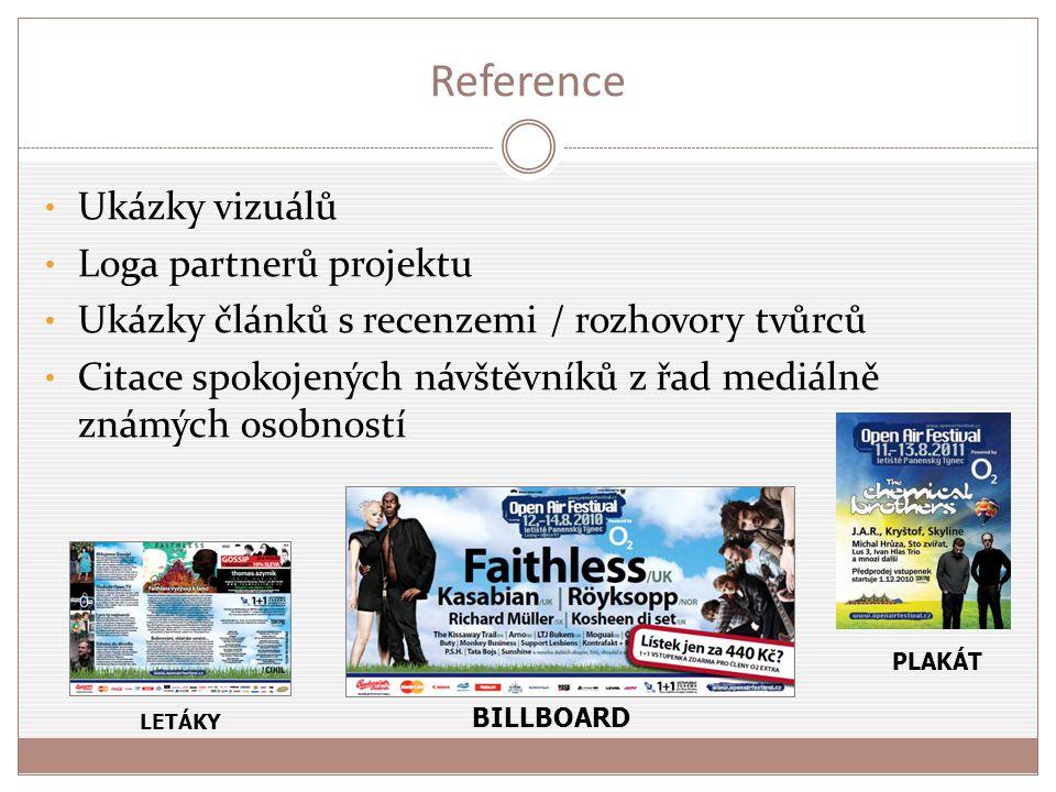 Reference Ukázky vizuálů Loga partnerů projektu