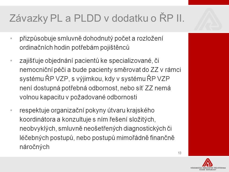 Závazky PL a PLDD v dodatku o ŘP II.