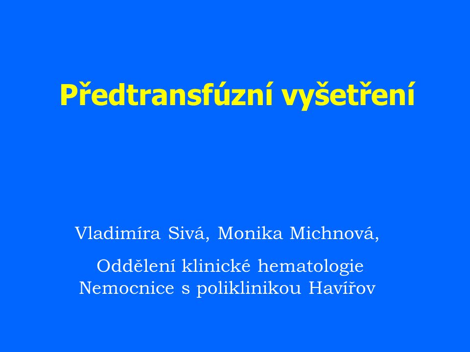 Předtransfúzní vyšetření