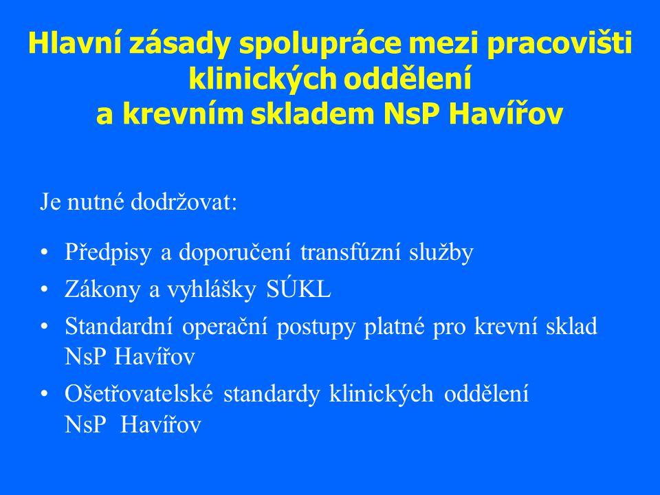 Hlavní zásady spolupráce mezi pracovišti klinických oddělení a krevním skladem NsP Havířov