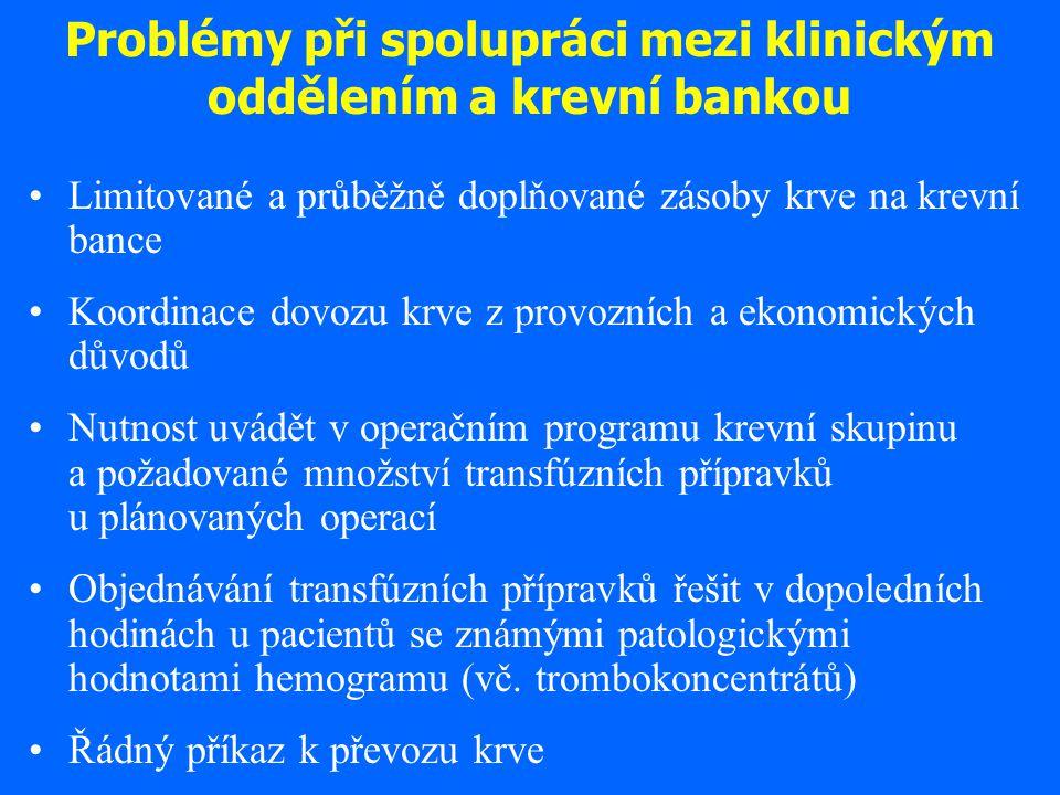 Problémy při spolupráci mezi klinickým oddělením a krevní bankou