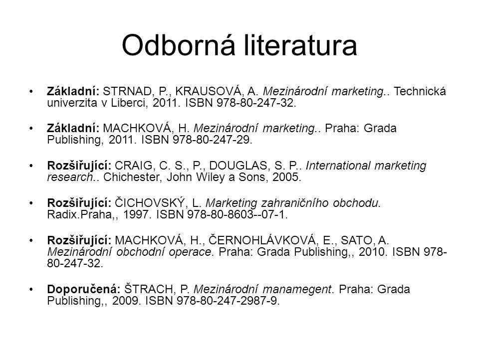Odborná literatura Základní: STRNAD, P., KRAUSOVÁ, A. Mezinárodní marketing.. Technická univerzita v Liberci, 2011. ISBN 978-80-247-32.