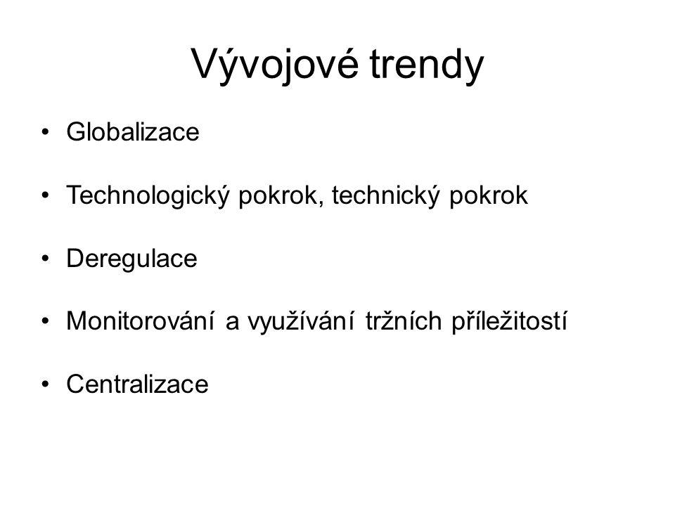 Vývojové trendy Globalizace Technologický pokrok, technický pokrok