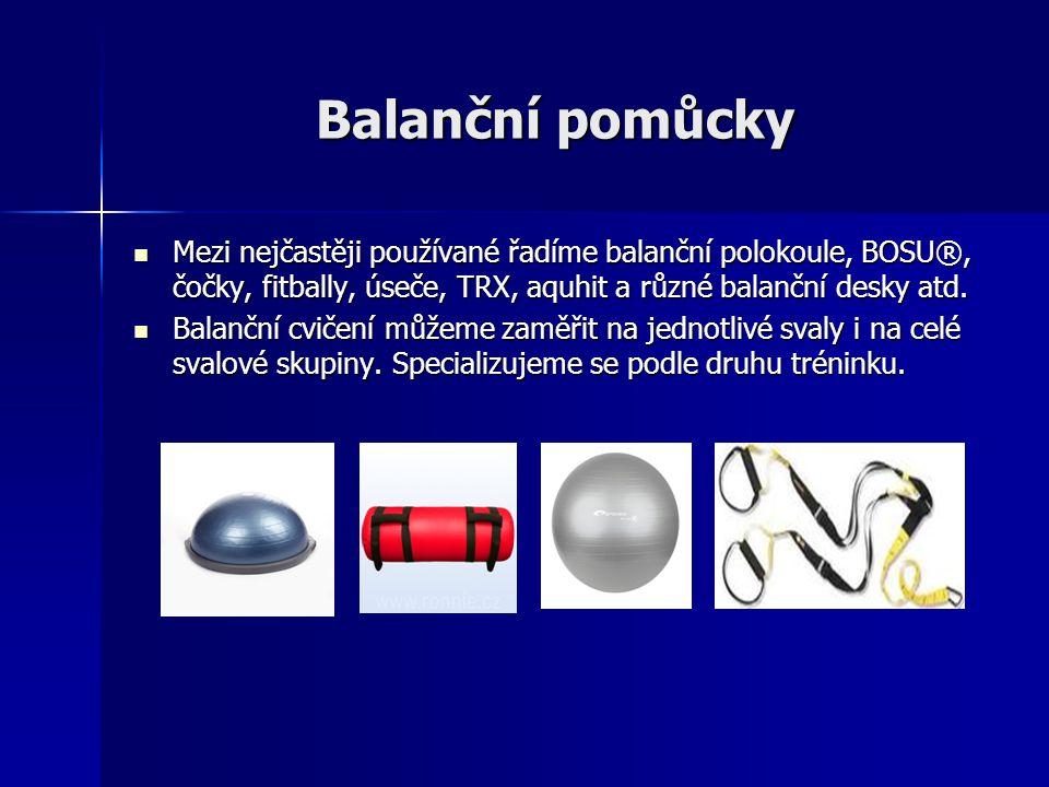 Balanční pomůcky Mezi nejčastěji používané řadíme balanční polokoule, BOSU®, čočky, fitbally, úseče, TRX, aquhit a různé balanční desky atd.