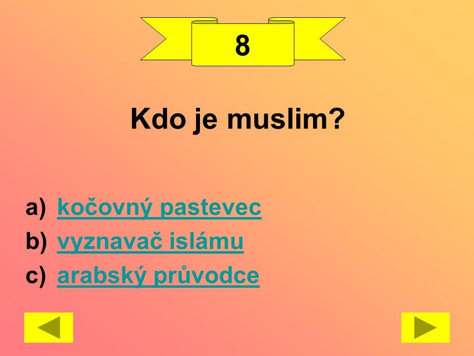 8 Kdo je muslim kočovný pastevec vyznavač islámu arabský průvodce
