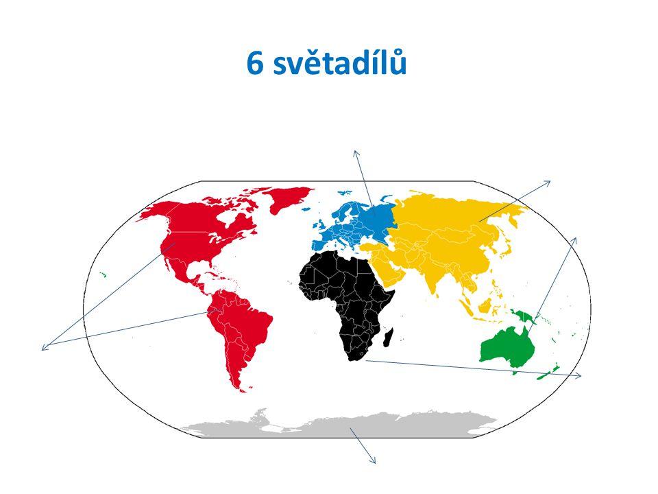 6 světadílů Amerika Evropa Antarktida Asie Afrika Austrálie