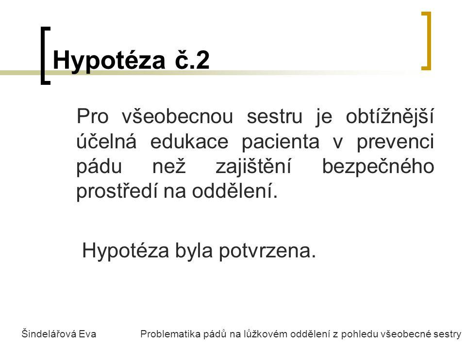 Hypotéza č.2 Pro všeobecnou sestru je obtížnější účelná edukace pacienta v prevenci pádu než zajištění bezpečného prostředí na oddělení.