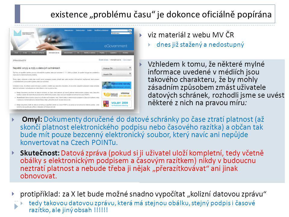 """existence """"problému času je dokonce oficiálně popírána"""