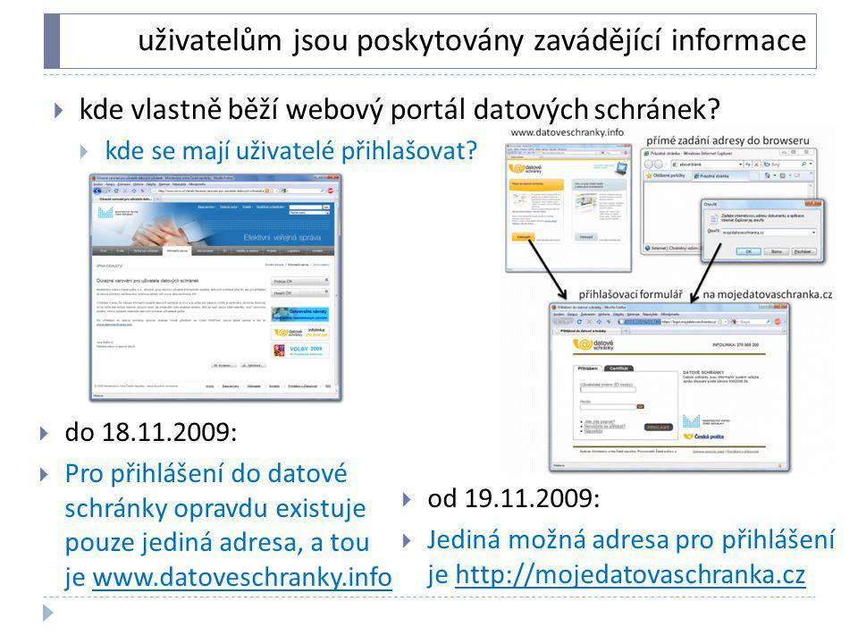uživatelům jsou poskytovány zavádějící informace