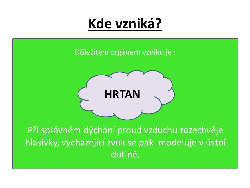 Kde vzniká HRTAN Při správném dýchání proud vzduchu rozechvěje