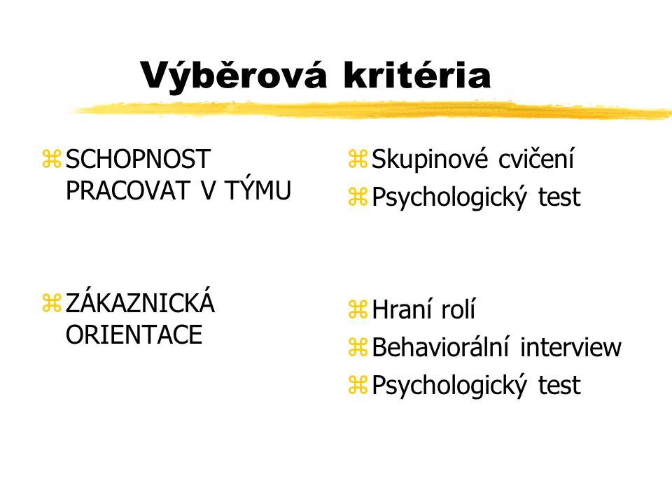 Výběrová kritéria SCHOPNOST PRACOVAT V TÝMU ZÁKAZNICKÁ ORIENTACE