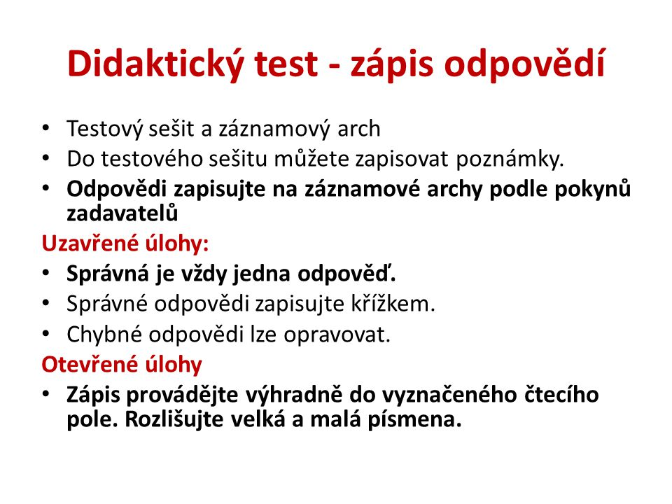 Didaktický test - zápis odpovědí