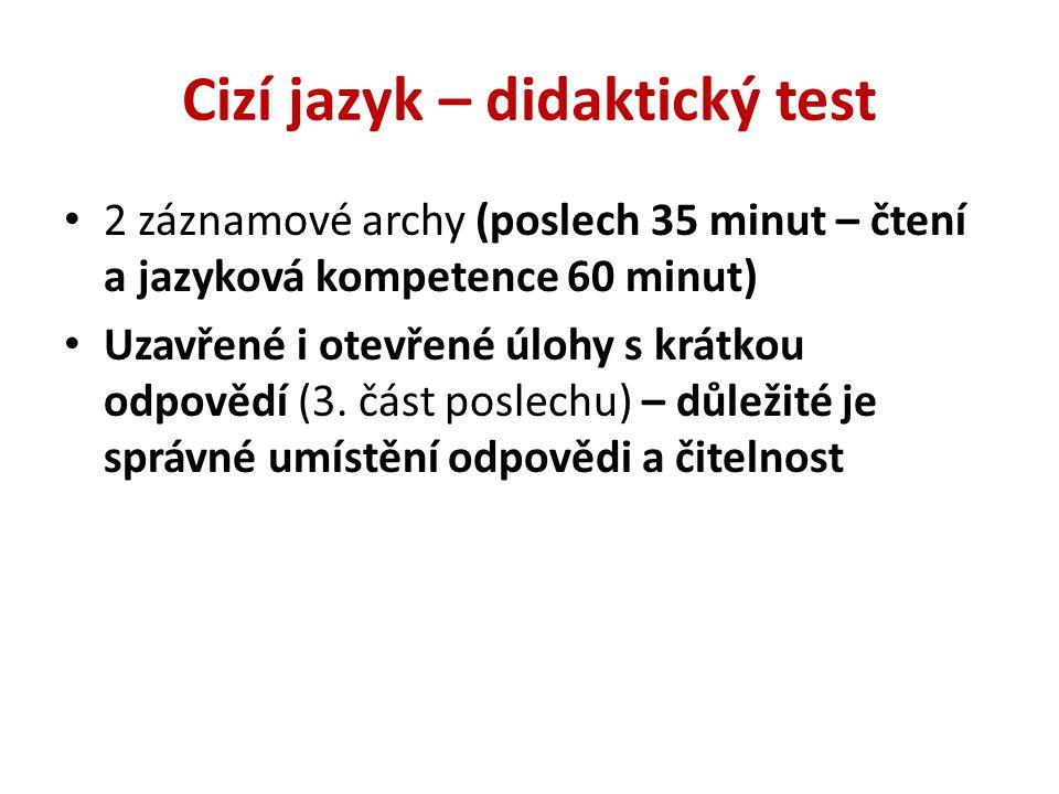 Cizí jazyk – didaktický test