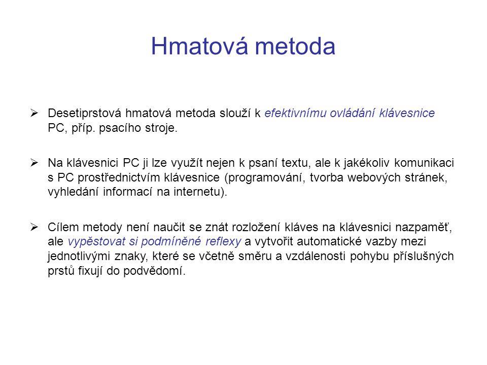 Hmatová metoda Desetiprstová hmatová metoda slouží k efektivnímu ovládání klávesnice PC, příp. psacího stroje.