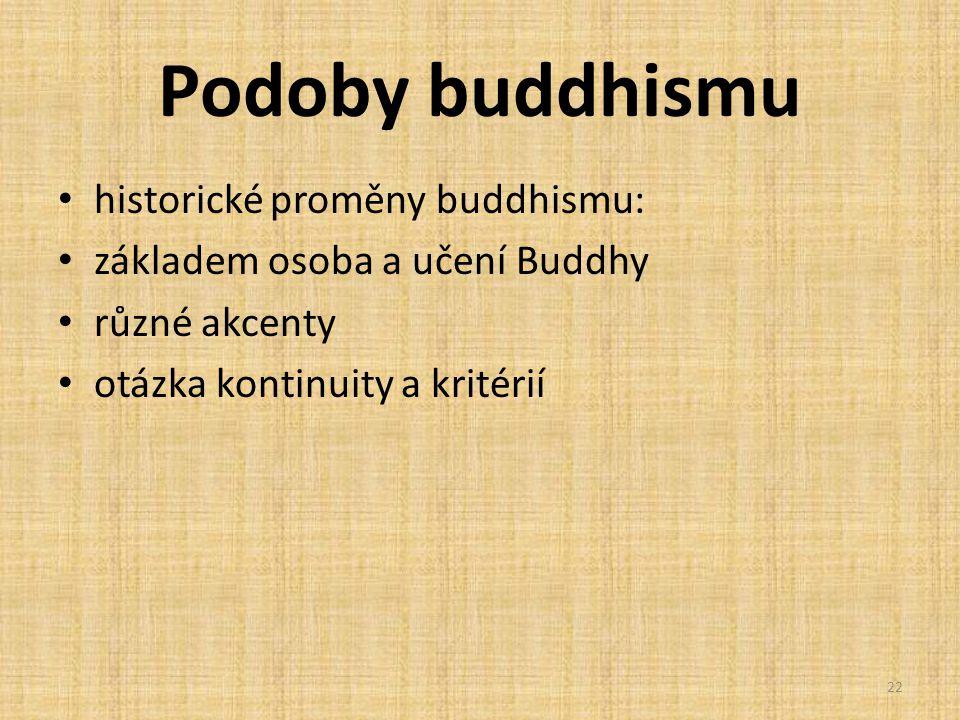 Podoby buddhismu historické proměny buddhismu: