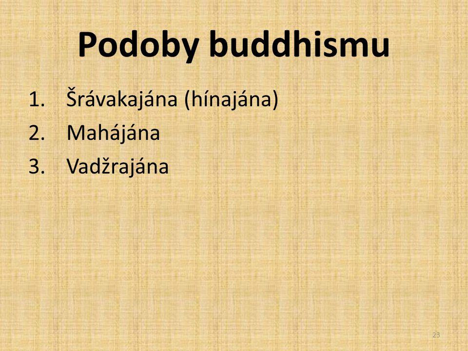 Podoby buddhismu Šrávakajána (hínajána) Mahájána Vadžrajána