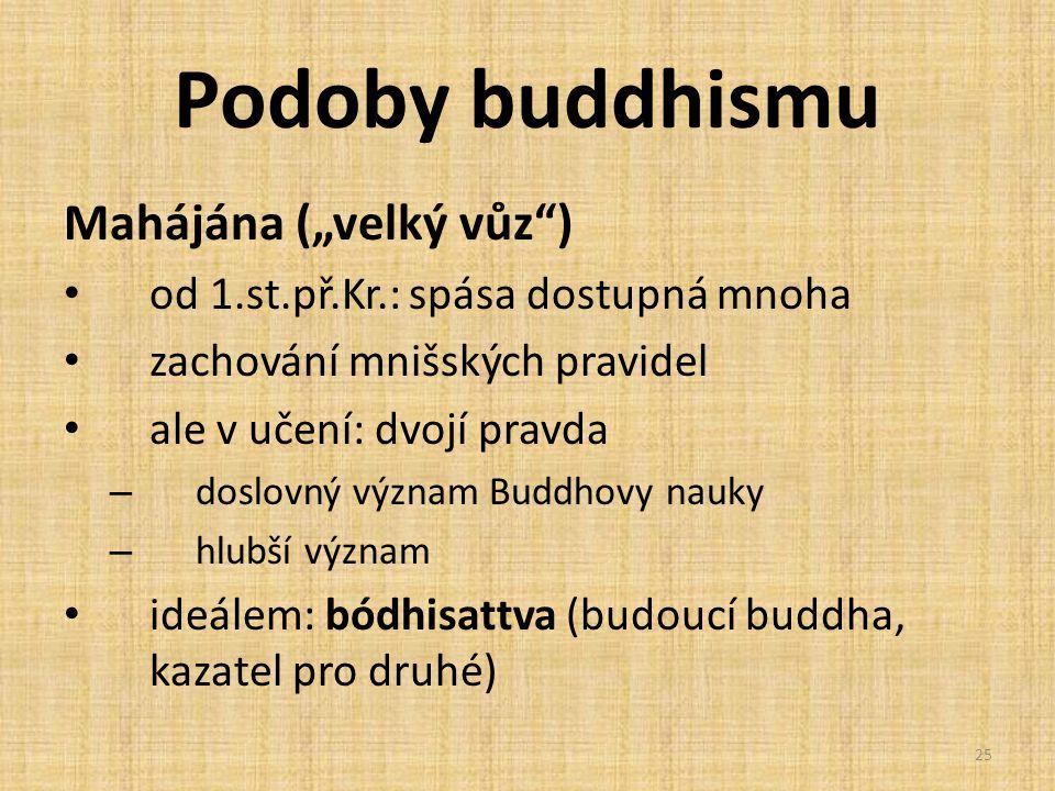 """Podoby buddhismu Mahájána (""""velký vůz )"""