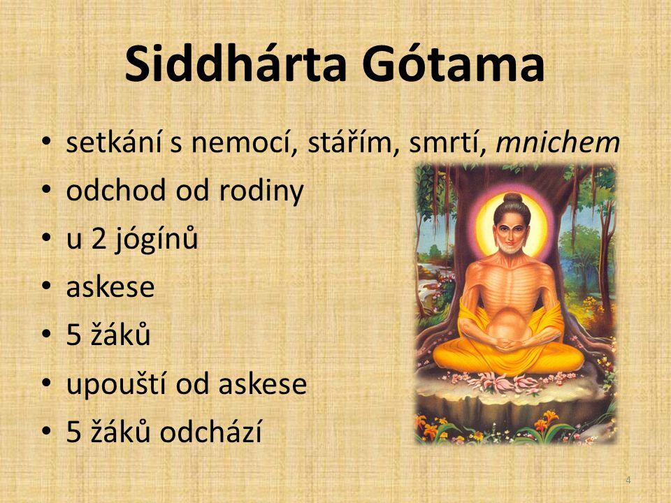 Siddhárta Gótama setkání s nemocí, stářím, smrtí, mnichem