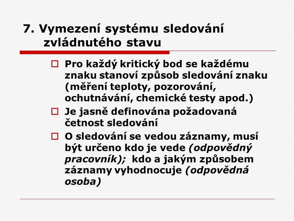 7. Vymezení systému sledování zvládnutého stavu
