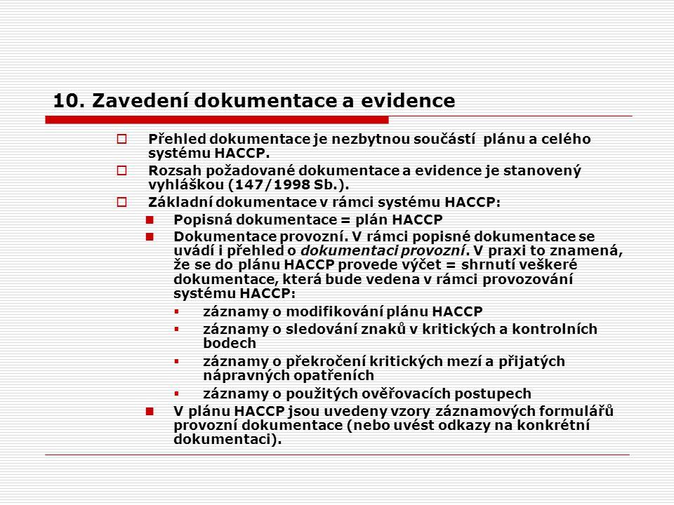 10. Zavedení dokumentace a evidence