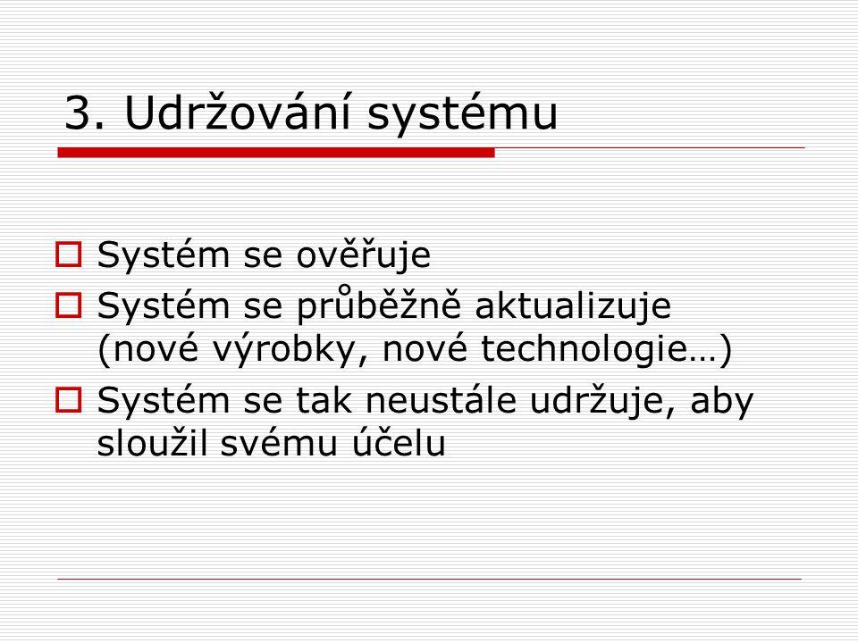 3. Udržování systému Systém se ověřuje