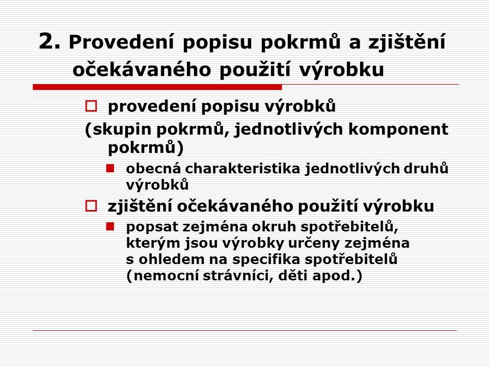 2. Provedení popisu pokrmů a zjištění očekávaného použití výrobku