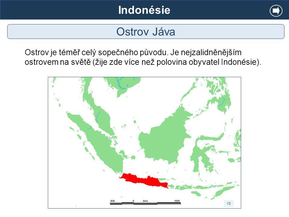 Indonésie Ostrov Jáva. Ostrov je téměř celý sopečného původu. Je nejzalidněnějším ostrovem na světě (žije zde více než polovina obyvatel Indonésie).