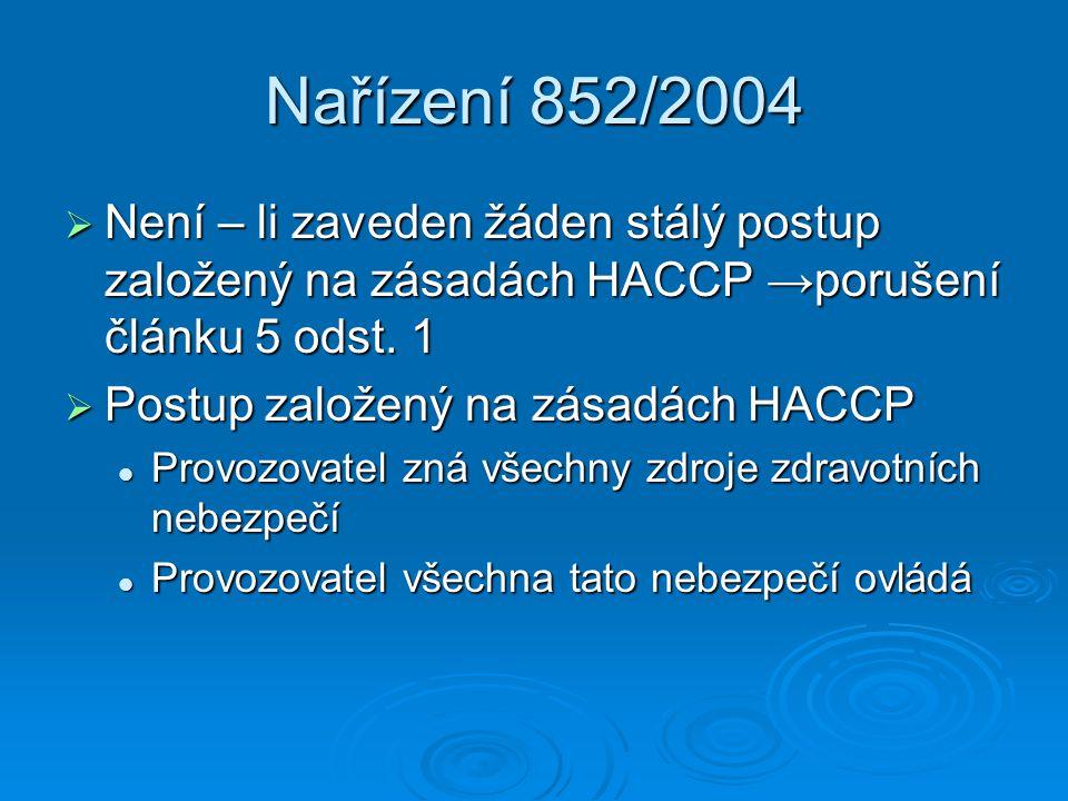 Nařízení 852/2004 Není – li zaveden žáden stálý postup založený na zásadách HACCP →porušení článku 5 odst. 1.