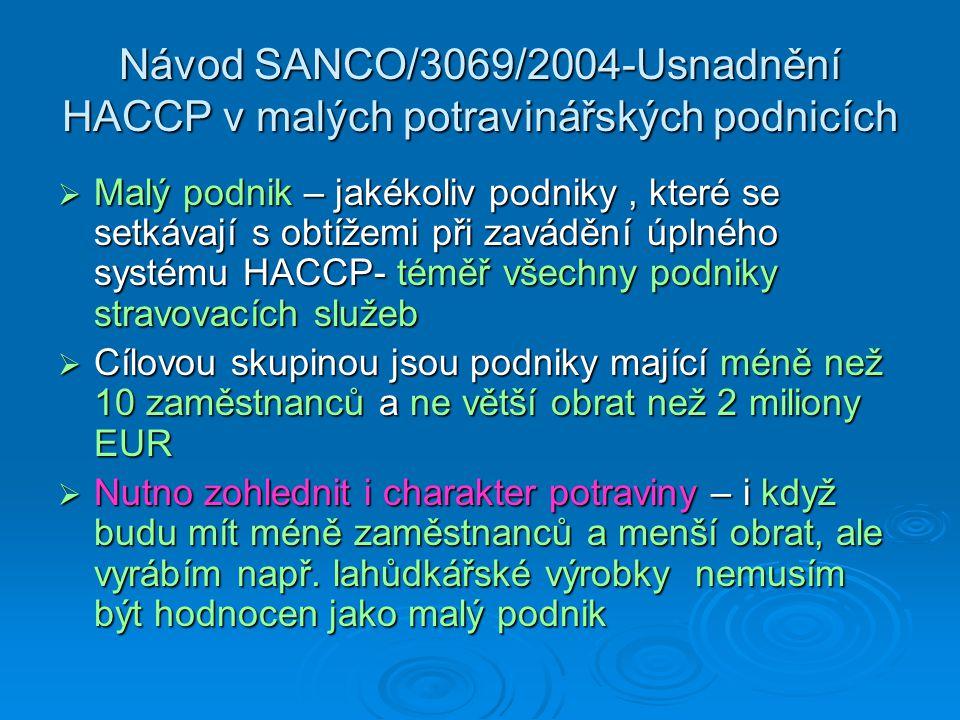 Návod SANCO/3069/2004-Usnadnění HACCP v malých potravinářských podnicích