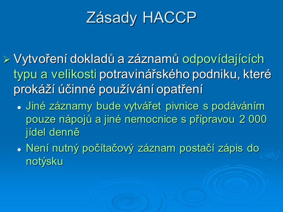 Zásady HACCP Vytvoření dokladů a záznamů odpovídajících typu a velikosti potravinářského podniku, které prokáží účinné používání opatření.
