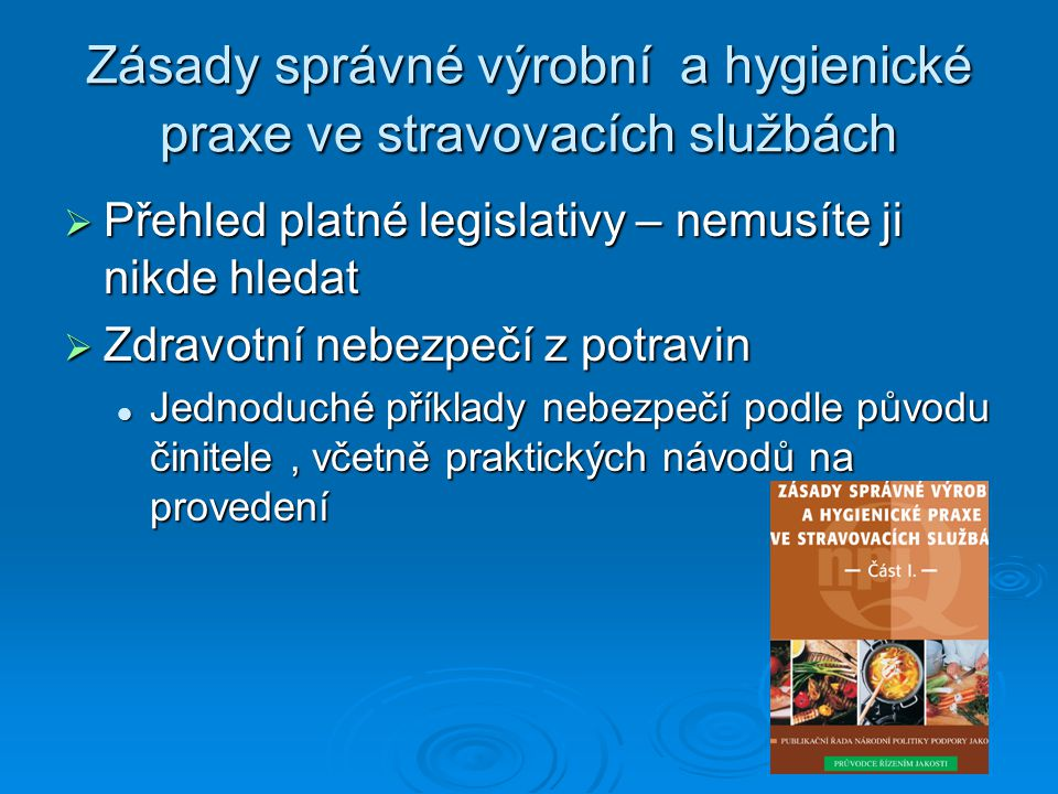 Zásady správné výrobní a hygienické praxe ve stravovacích službách