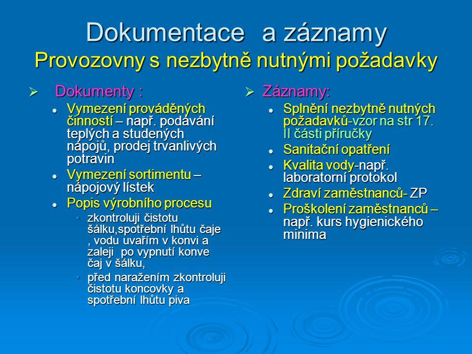 Dokumentace a záznamy Provozovny s nezbytně nutnými požadavky