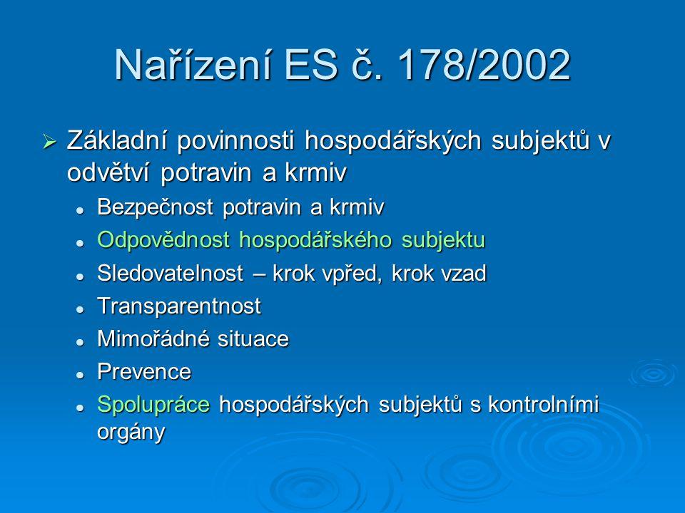 Nařízení ES č. 178/2002 Základní povinnosti hospodářských subjektů v odvětví potravin a krmiv. Bezpečnost potravin a krmiv.
