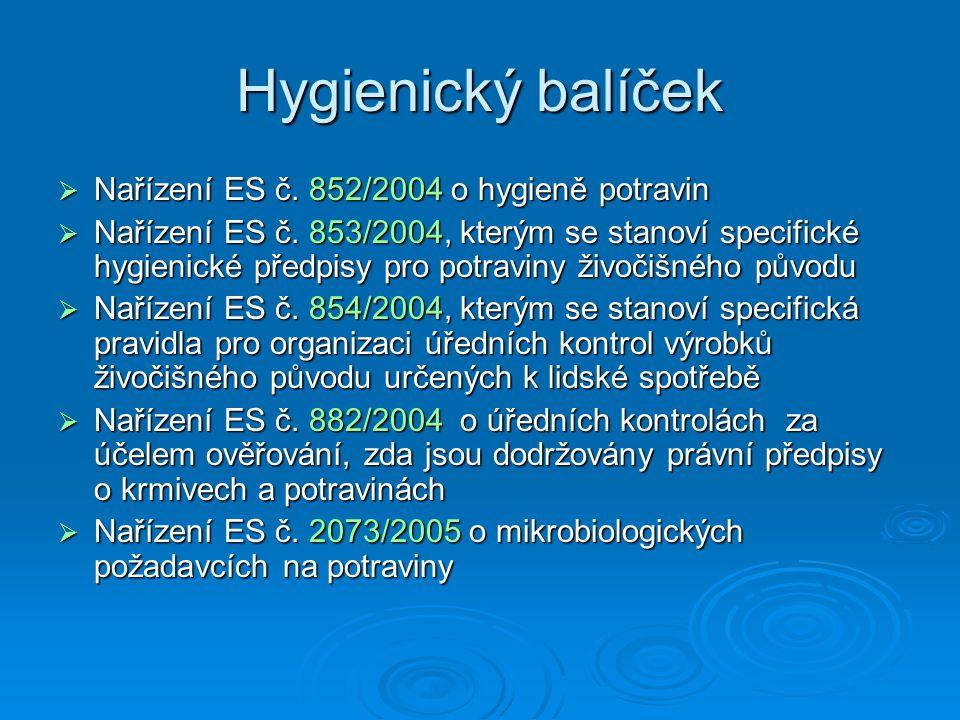 Hygienický balíček Nařízení ES č. 852/2004 o hygieně potravin