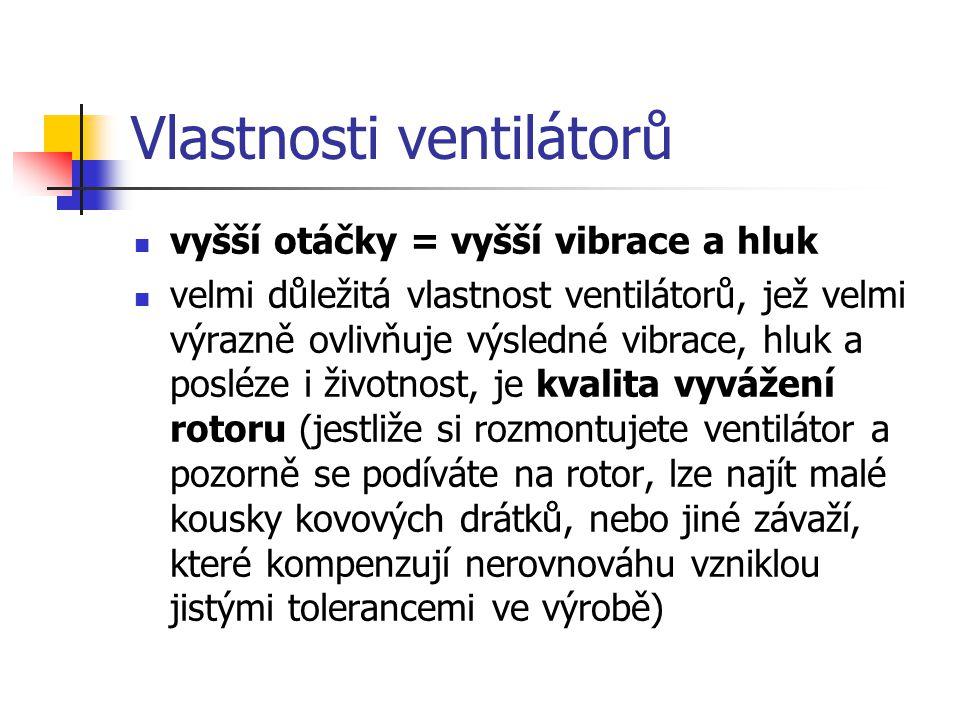 Vlastnosti ventilátorů