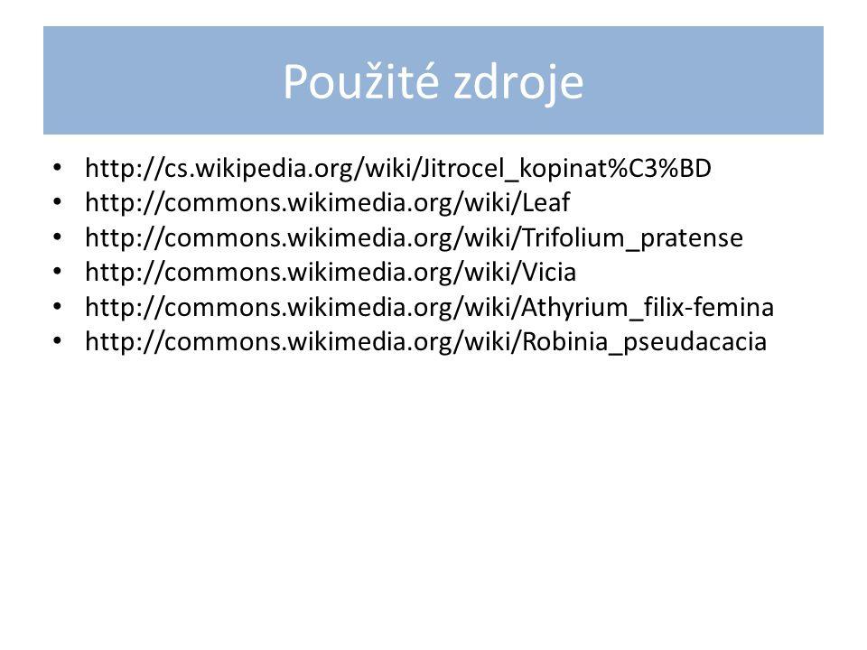 Použité zdroje http://cs.wikipedia.org/wiki/Jitrocel_kopinat%C3%BD