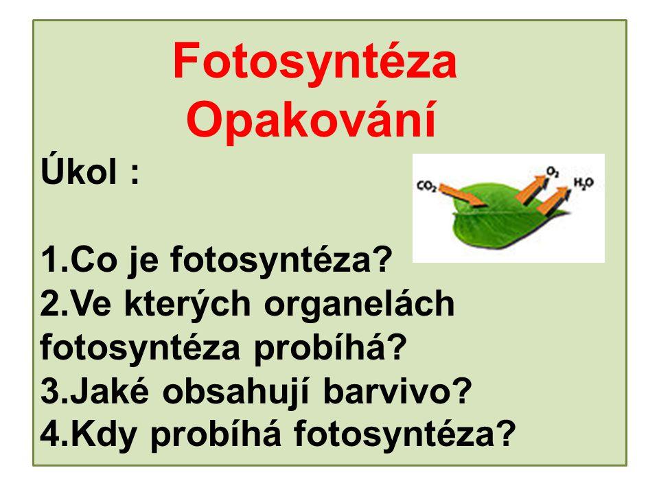 Fotosyntéza. Opakování Úkol : 1. Co je fotosyntéza. 2