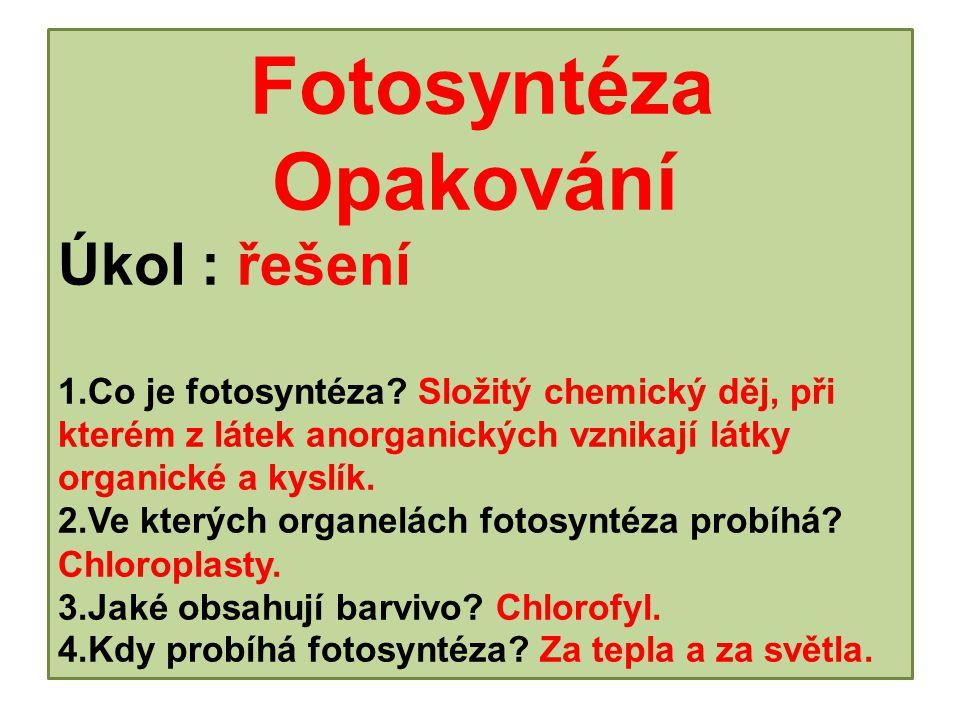 Fotosyntéza. Opakování Úkol : řešení 1. Co je fotosyntéza