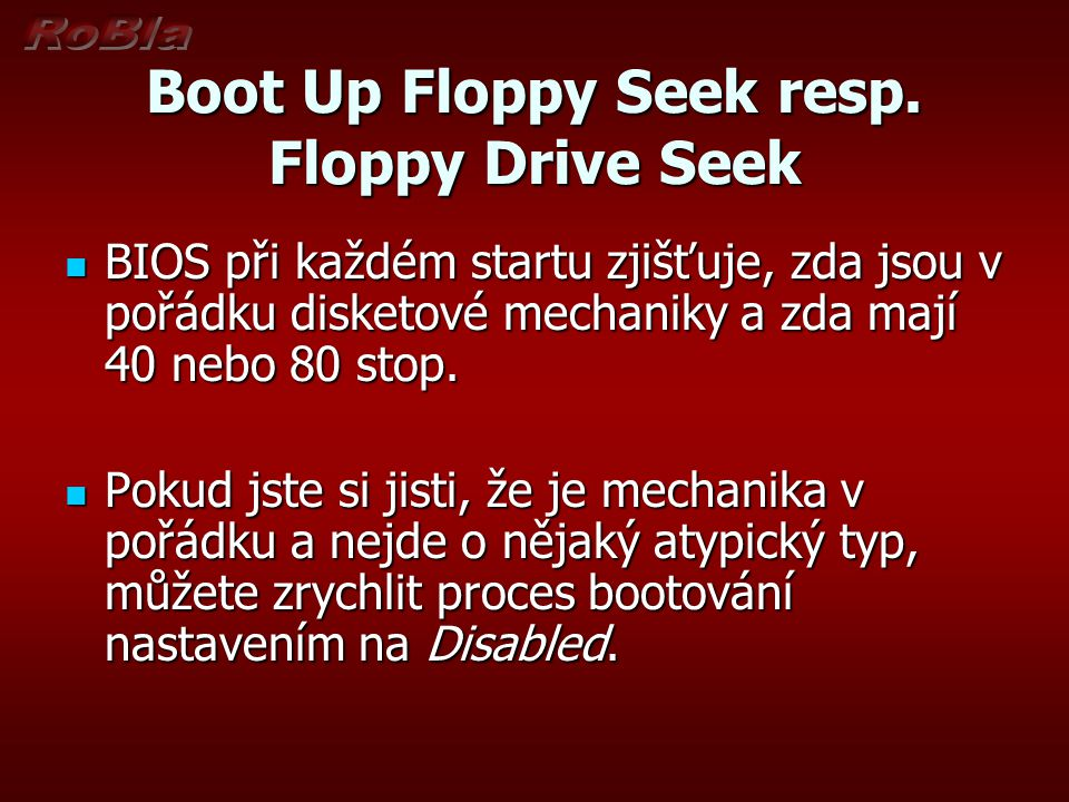 Boot Up Floppy Seek resp. Floppy Drive Seek